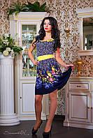 Женское приталенное летнее платье-клеш с принтом Желтый, фото 1