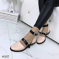 Туфли женские кожаные открытые на низком ходу, фото 1