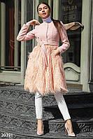 Эксклюзивное персиковое пальто с мехом ламы S M