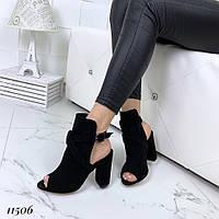 Босоножки замшевые черные на каблуке, фото 1