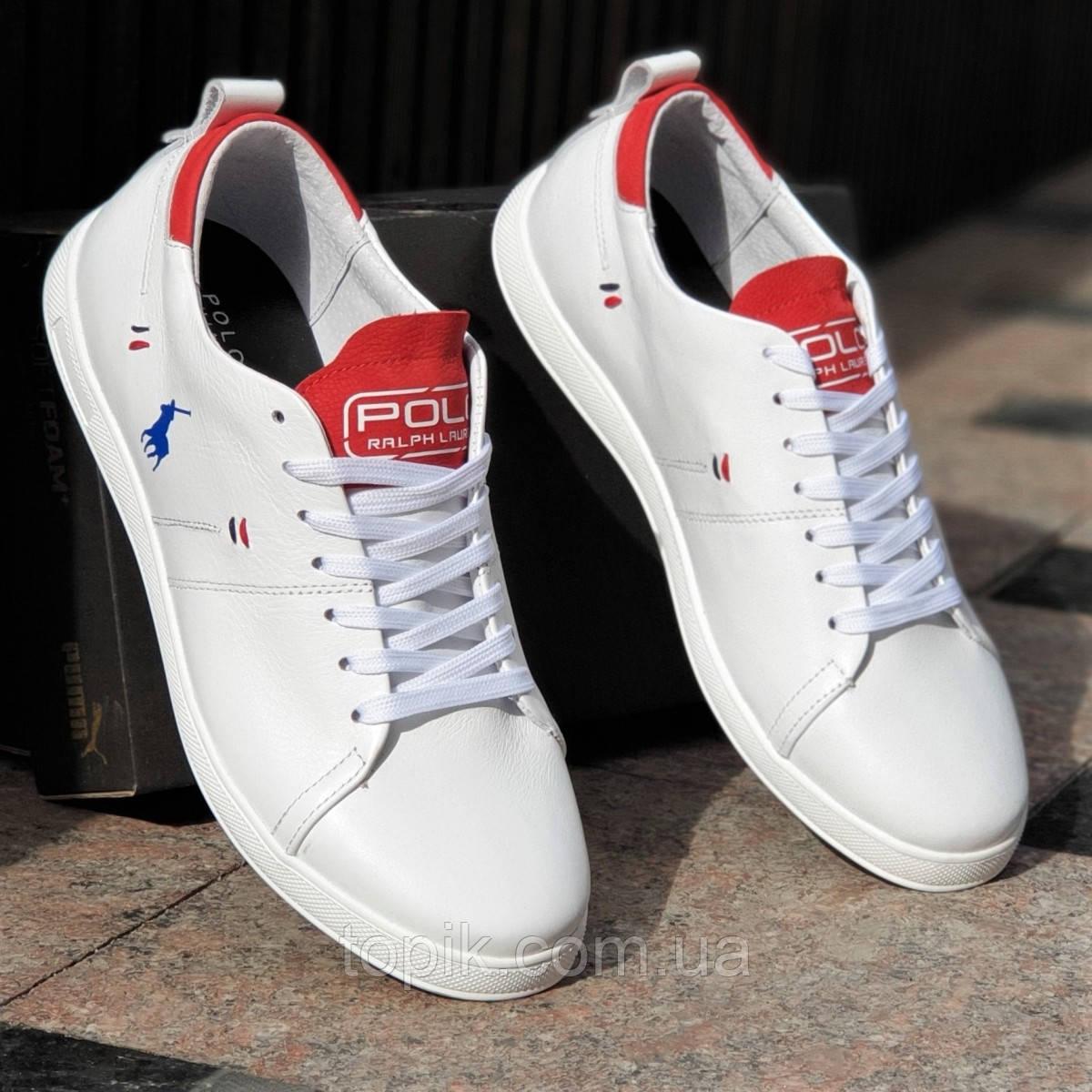 Белые мужские кеды, кроссовки, мокасины, мягкая натуральная кожа, белая подошва, модные (Код: 1377а)