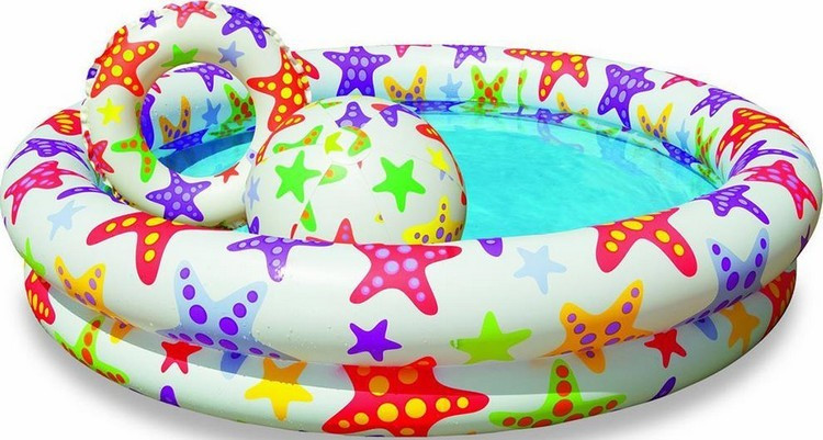 Бассейн надувной детский Intex 59460 с кругом и мячом, бассейны для детей