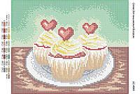 """Схема для вышивки бисером """"Пирожные """"Влюбленное сердце"""""""