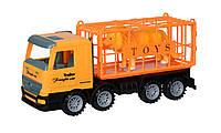 Машинка инерционная Same Toy Super Combination Грузовик желтый для перевозки животных 98-83Ut