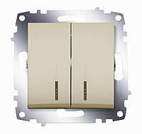 Выключатель 2 клавишный с подсветкой LED ABB Cosmo титаниум 619-011400-203