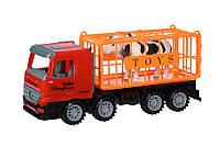 Машинка инерционная Same Toy Super Combination Грузовик красный для перевозки животных 98-82Ut