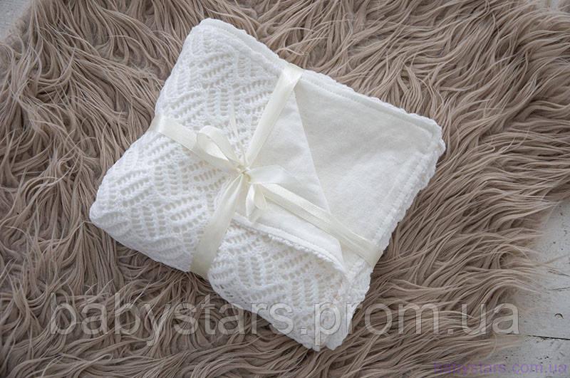 Ажурные пледы для новорожденных вязаные на трикотаже, цвет молочный