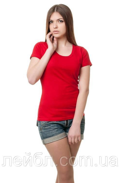 Женская футболка с круглой горловиной - красный
