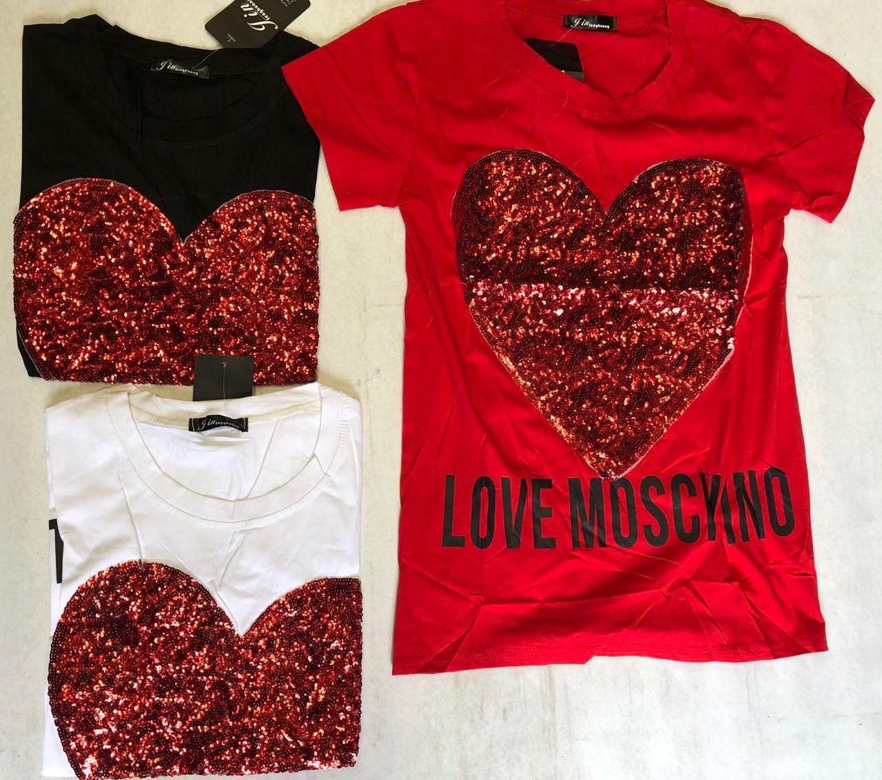 Футболка женская Love Moschino. Фабричный Китай, хорошее качество, универсальный размер