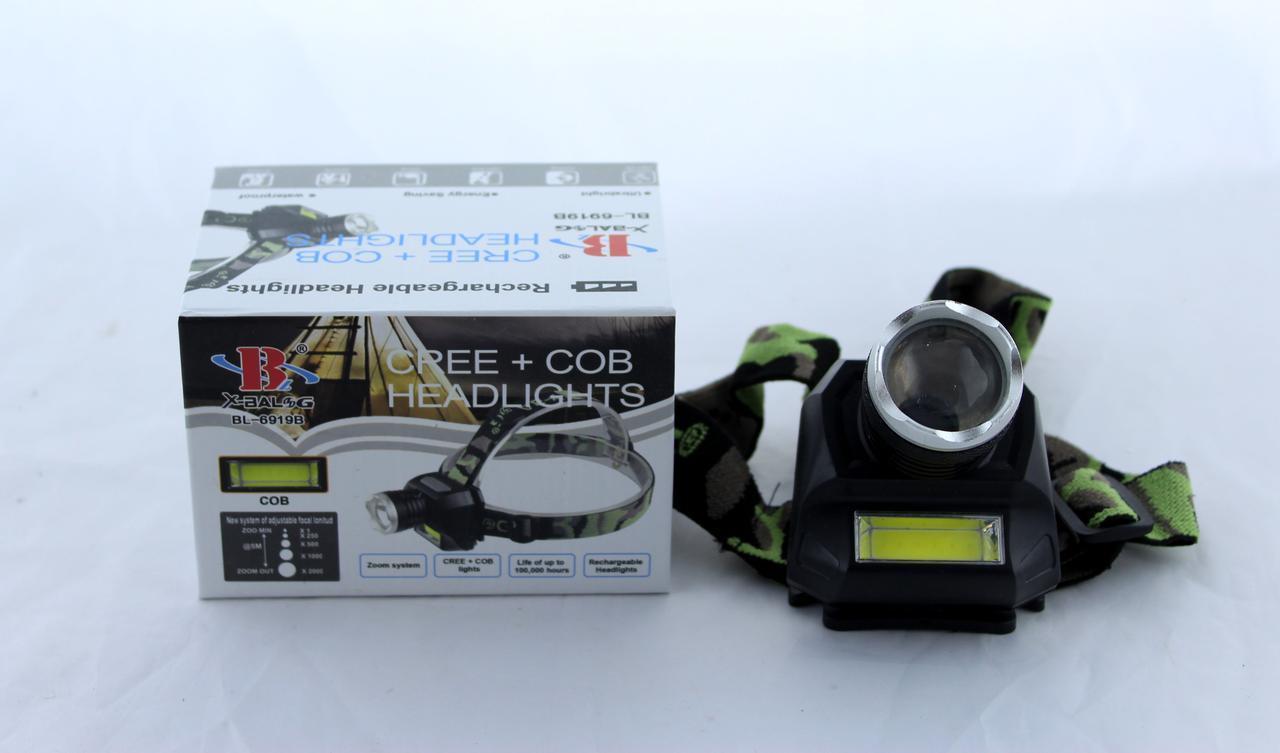Фонарик на лоб BL 6919B XPE /налобный светодиодный фонарик