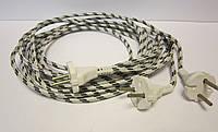 Шнур для утюга со стальной вилкой 6А 220В (сечение провода 2*0,5мм²) 1,5м