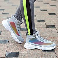 Модные женские серые кроссовки на толстой белой подошве, мягкие и удобные на весну лето (Код: 1384а)