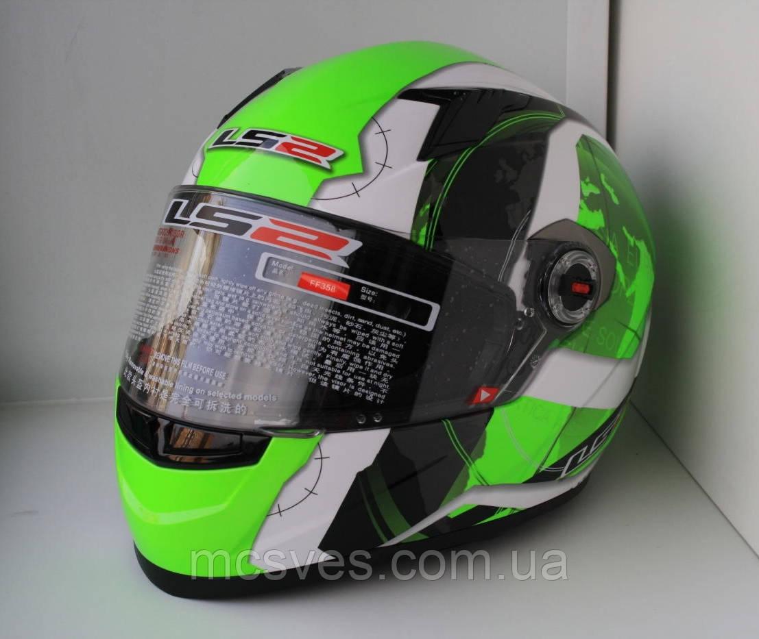 LS2 Шлем закрытый FF358 XL - БЕЛЫЙ с рисунком черно-зеленым (Continental)