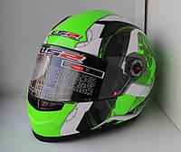 LS2 Шлем закрытый FF358 XL - БЕЛЫЙ с рисунком черно-зеленым (Continental), фото 1