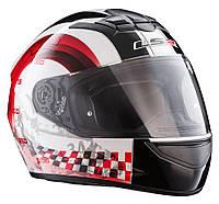 LS2 - Шлем закрытый CHRONO II FF358 XL - БЕЛЫЙ с рисунком красно-черным