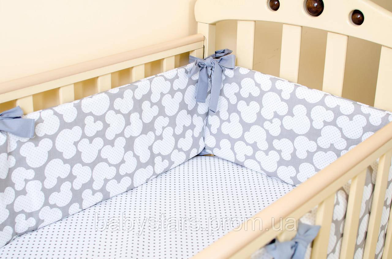 """Бортики в кроватку для новорожденных """"Серый Микки"""" 360см х 27см"""