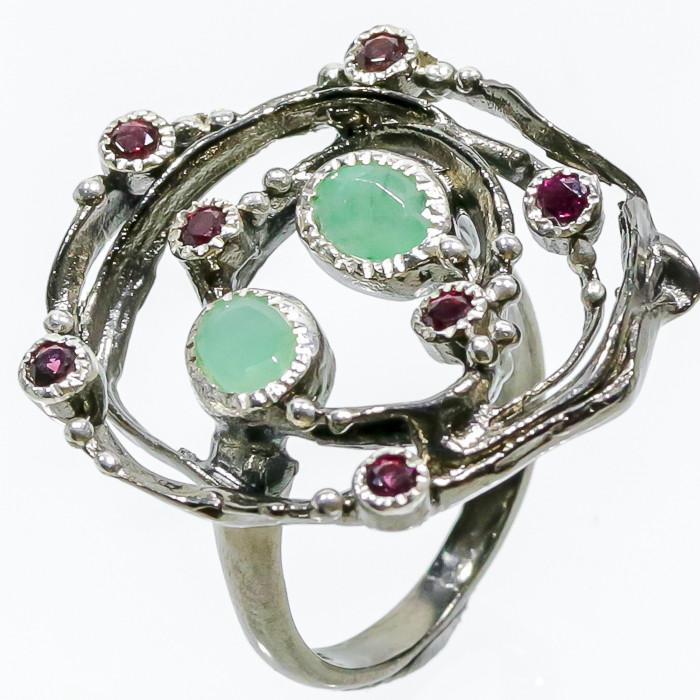 Красивое кольцо изумруд и родолит в серебре. Размер 18,5-19 кольцо с изумрудом и родолитом Тайланд