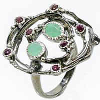 Красивое кольцо изумруд и родолит в серебре. Размер 18,5-19 кольцо с изумрудом и родолитом Тайланд, фото 1