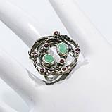 Красивое кольцо изумруд и родолит в серебре. Размер 18,5-19 кольцо с изумрудом и родолитом Тайланд, фото 3