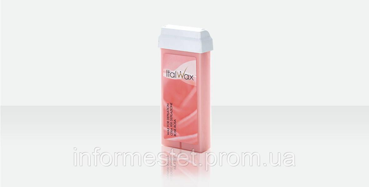 Воск в кассете Роза 100 г, широкий ролик Ital Wax Италия