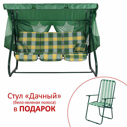 "Качели ""Вилла"" (Бязь, Желто-зеленая клетка), фото 2"