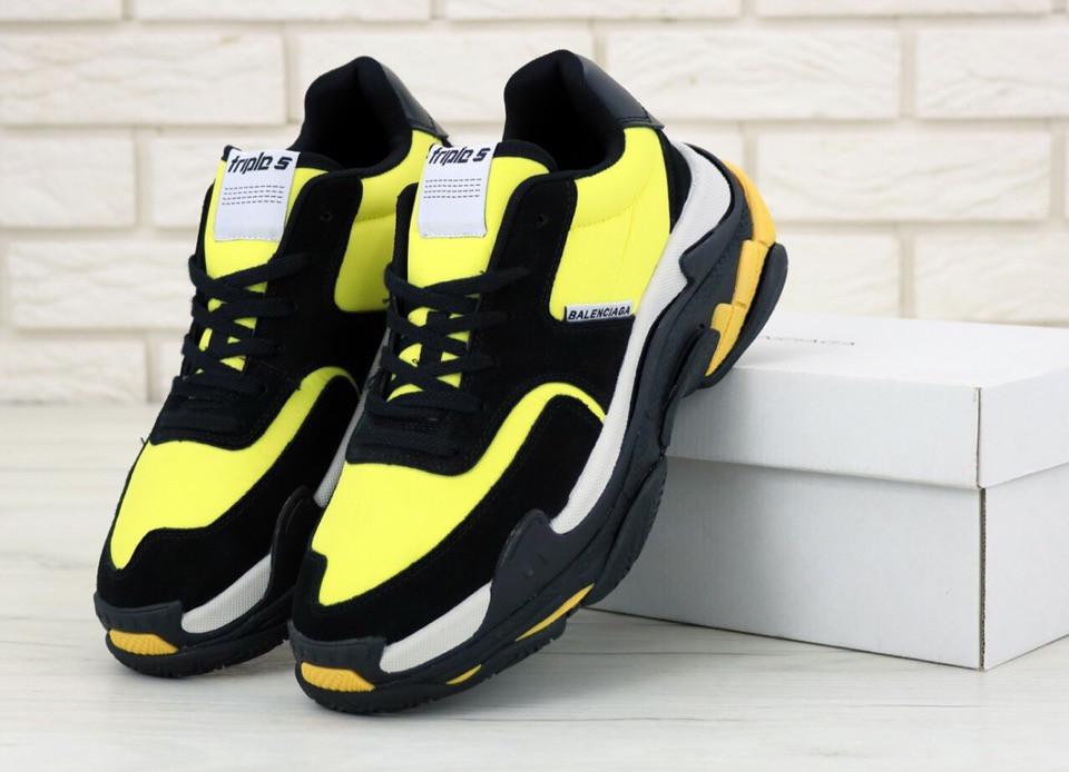 Кроссовки мужские Balenciaga Triple S Black Yellow многослойная подошва. ТОП Реплика ААА класса.