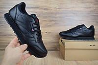 Мужские спортивные кроссовки Reebok Classic черные/серая надписьРеплика хорошего качества, фото 1