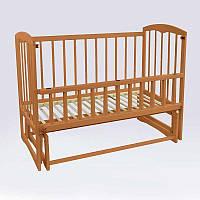"""Кроватка детская """"Спим"""" маятник, откидной борт, ольха - цвет светло-коричневый"""