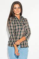 Рубашка женская в нейтральную клетку AG-0006770 Чернильно-зеленый
