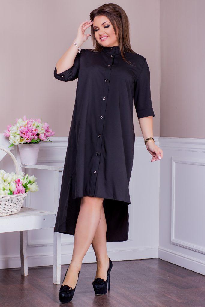 Стильное платье-рубашка темно-синее 8244