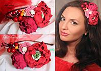"""""""Мак с пионом и ягодами"""" Авторский ободок на голову с цветами. , фото 1"""