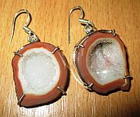 Серебряные серьги с жеодовой рыжей друзой агата    от студии LadyStyle.Biz, фото 1
