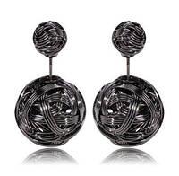Серьги-шарики в стиле Mise en Dior металлические черные в ПОДАРОК, фото 1