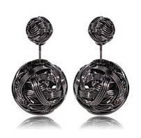 Серьги-шарики в стиле Mise en Dior металлические черные в ПОДАРОК