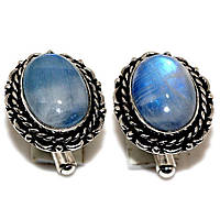 """Овальные серебряные запонки  с  лунным камнем """"Лунник""""  от студии LadyStyle.Biz, фото 1"""