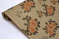 Упаковочная крафт бумага для цветов и подарков с рисунком 70см*10м УП - Роза на газете на буром