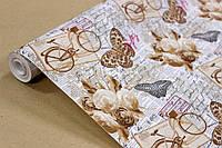 Упаковочная крафт бумага для цветов и подарков с рисунком 70см*10м УП - Велосипед на белом