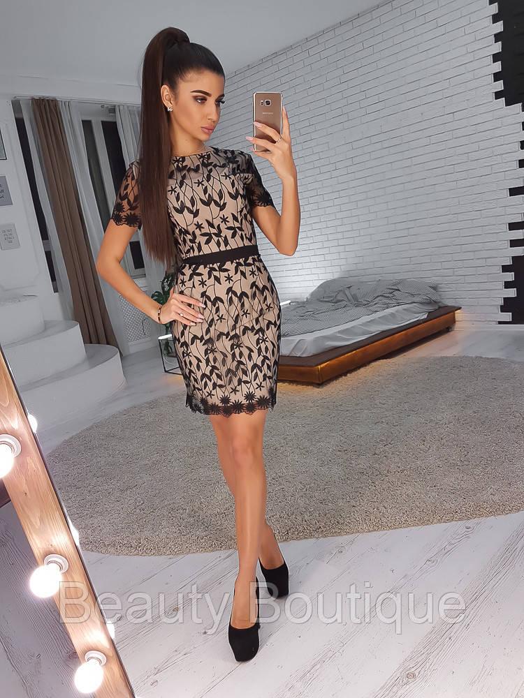 19e8ca4d2d5 Черное кружевное платье-футляр с короткими рукавами - Beauty Boutique в  Одессе