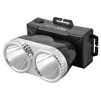 Аккумуляторный налобный фонарик yj-1838, белый + жёлтый свет, зарядка сетевая 220v, крепление на голову