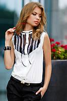 Белая блуза с черным кружевом 48р.