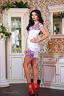 Летнее женское мини-платье с цветочным принтом, фото 1