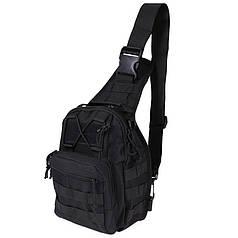 Рюкзак сумка тактическая военная Oxford 600D через плечо Black