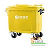 Мусорный контейнер пластиковый, 1100 л желтый