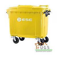 Мусорный контейнер пластиковый, 1100 л желтый, фото 1