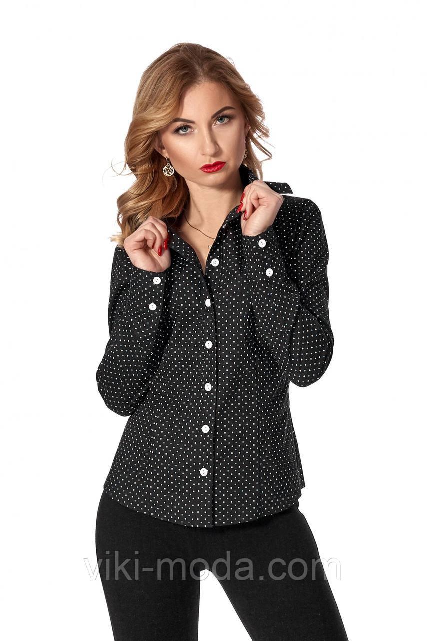 Черная женская рубашка в горошек из коттона