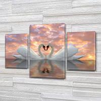 Пара Лебедей, модульная картина (животные, птицы), на ПВХ ткани, 45х70 см, (30x20-2/45x25)