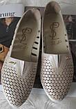 Slip! Жіночі туфлі-балетки перфорація натуральна шкіра літо, фото 5