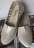 Slip! Жіночі туфлі-балетки перфорація натуральна шкіра літо, фото 6