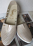 Slip! Жіночі туфлі-балетки перфорація натуральна шкіра літо, фото 7