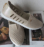 Slip! Жіночі туфлі-балетки перфорація натуральна шкіра літо, фото 8